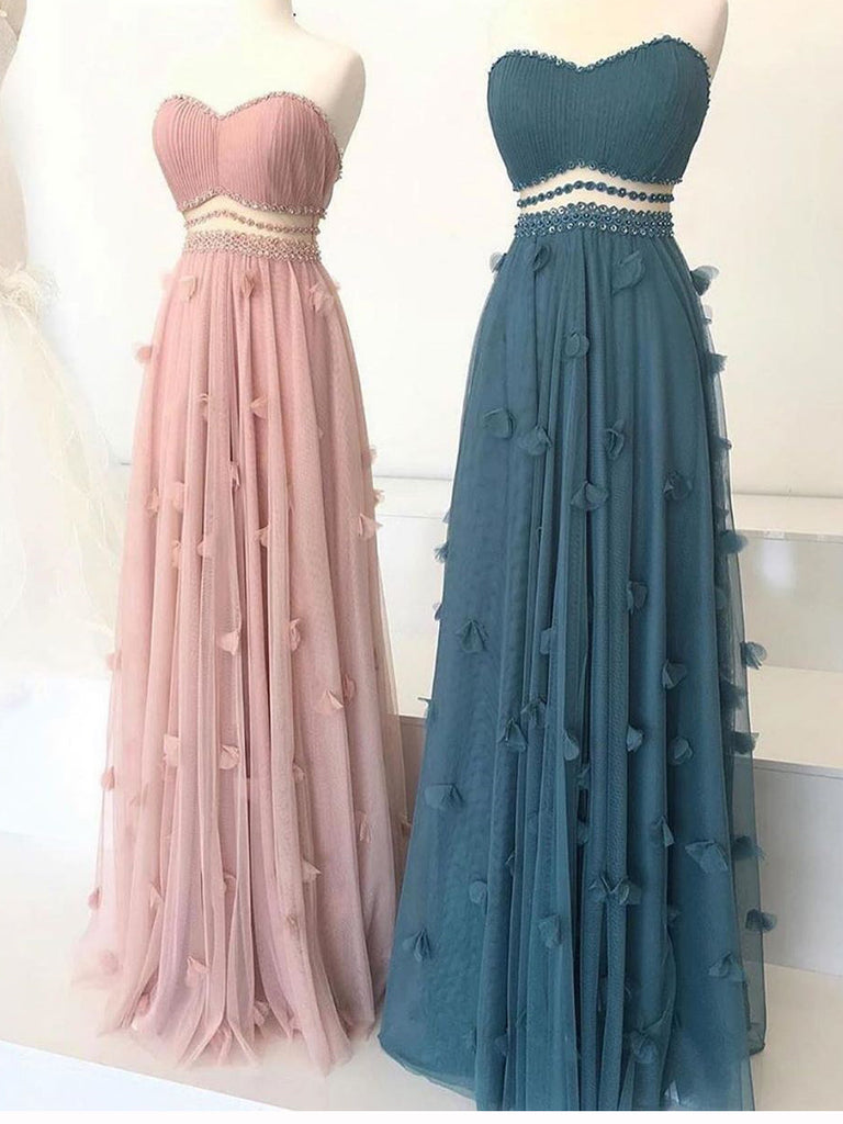 A-line Sweetheart Pink Long Prom Dresses Tulle Evening Dress WEK168