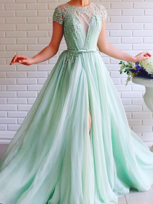 A-line Scoop Mint Green Long Prom Dresses Beading Tulle Evening Dress WEK171