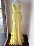 Trumpet/Mermaid Spaghetti Straps Lace Long Prom Dresses Yellow Evening Dress WEK173