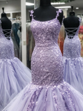 Trumpet/Mermaid Spaghetti Straps Lilac Long Prom Dresses Tulle Evening Dress WEK183