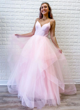 A-line Spaghetti Straps Pink Long Prom Dresses Tulle Evening Dress WEK187