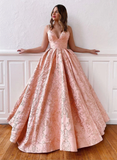 A-line Spaghetti Straps Pink Long Prom Dresses Lace Evening Dress WEK188