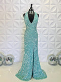 Trumpet/Mermaid Halter Sequins Long Prom Dresses Unique Evening Dress WEK197