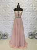 Chic Pink A-line Sweetheart Long Prom Dresses Rhinestone Evening Dress WEK198
