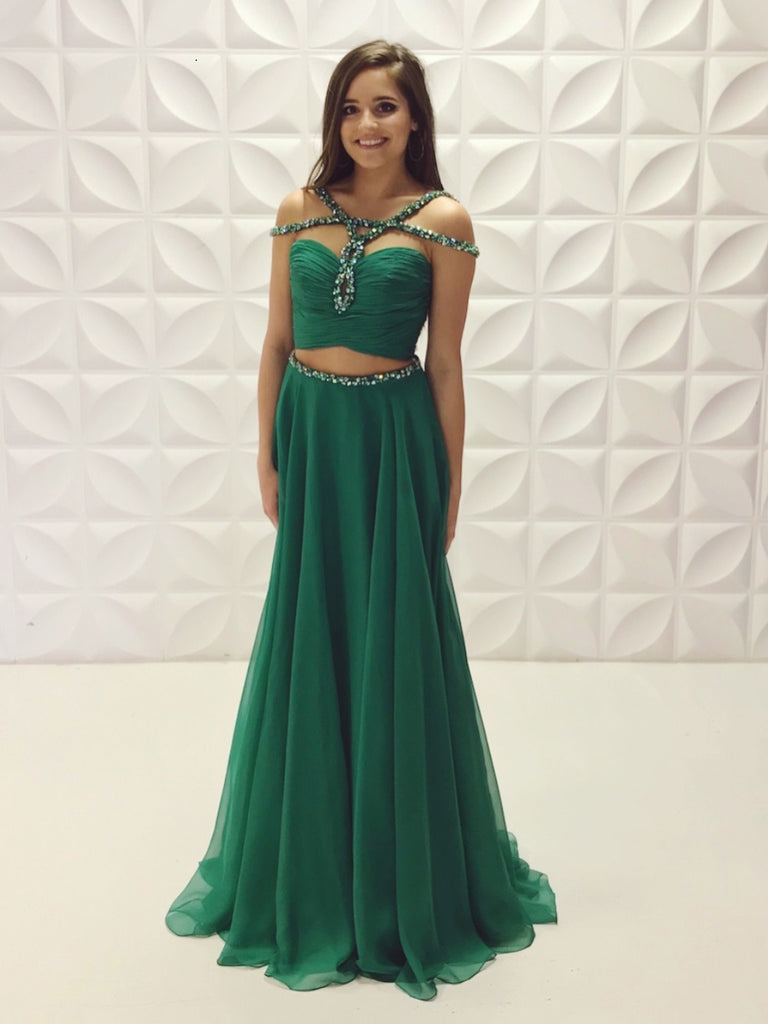 Chic A-line Two Pieces Chiffon Long Prom Dresses Beaded Evening Dress WEK201