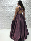 Chic A-line Deep V neck Sparkly Long Prom Dresses Modest Evening Dress WEK202
