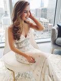 Chic Trumpet/Mermaid Spaghetti Straps Beaded Long Prom Dresses Evening Dress WEK203
