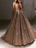 Chic A-line V neck Long Sparkly Gold Prom Dresses Evening Dress WEK207