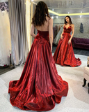 Chic A-line Spaghetti Straps Burgundy Cheap Long Prom Dresses Evening Dress WEK213