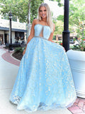 Chic A-line Strapless Blue Lace Long Prom Dresses Evening Dress WEK217