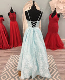 Chic A-line Spaghetti Straps V neck Blue Lace Long Prom Dresses Evening Dress WEK218