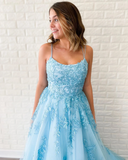 Chic A-line Spaghetti Straps Lace Long Prom Dresses Blue Evening Dress WEK223
