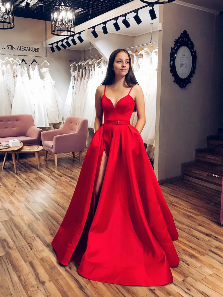 Chic A-line Spaghetti Straps Red Long Prom Dresses Satin Evening Dress WEK224