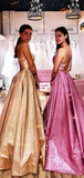 Chic A-line Spaghetti Straps Sparkly Long Prom Dresses Evening Dress WEK228