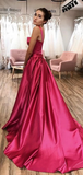 Chic A-line Straps Fuchsia Long Prom Dresses Satin Evening Dress WEK229