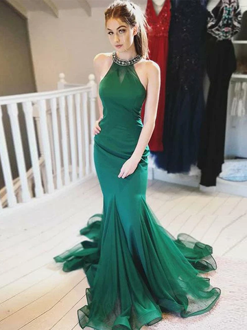 Chic A-line Trumpet/Mermaid Long Prom Dresses Hunter Evening Dress WEK244