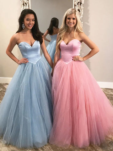Chic A-line Sweetheart Long Prom Dresses Tulle Evening Dress WEK245