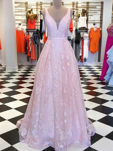 Chic A-line V neck Pink Long Prom Dresses Lace Evening Dress WEK247