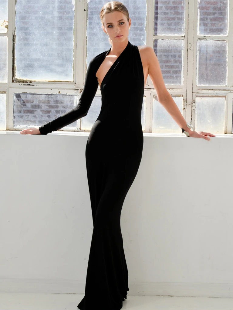 Chic Trumpet/Mermaid One Shoulder Black Long Prom Dresses Evening Dress WEK253