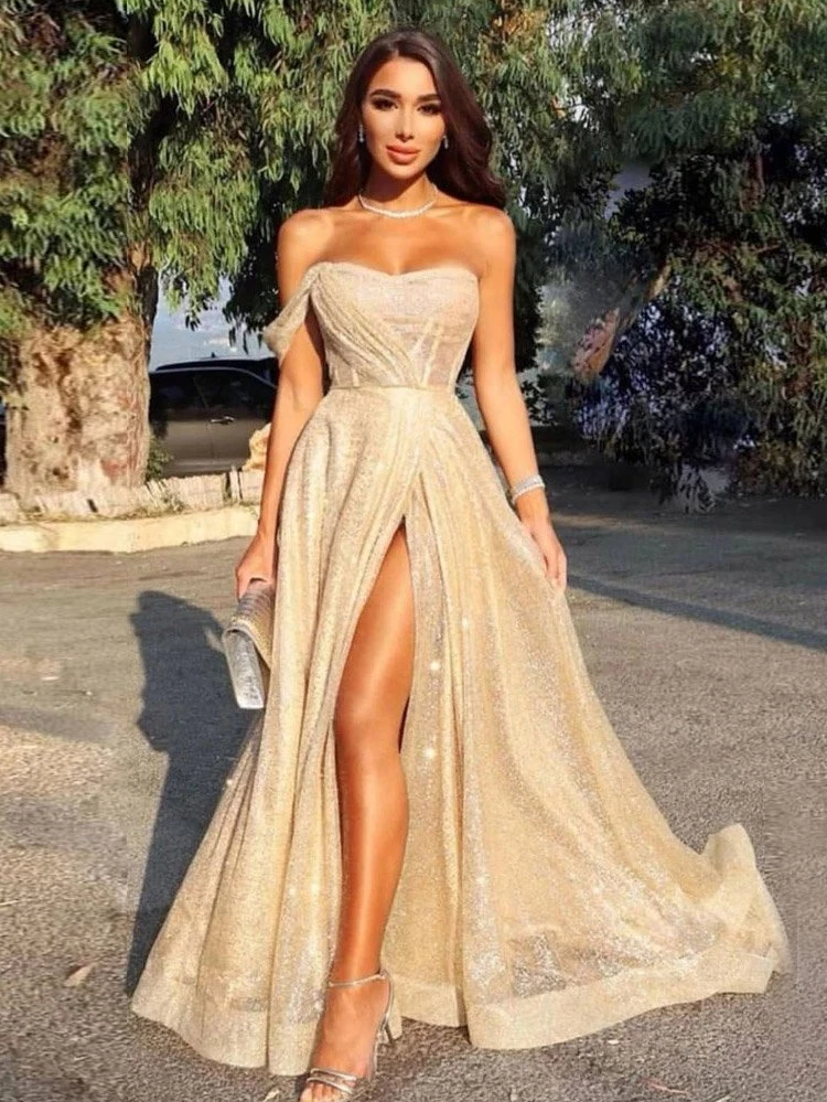 Chic A-line Sweetheart Sparkly Long Prom Dress Cheap Evening Dress WEK259