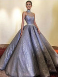 Chic Ball Gown High Neck Sparkly Long Prom Dress Evening Dress WEK263