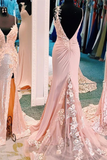 Chic Trumpet/Mermaid Pink Lace Long Prom Dress Backless Evening Dress WEK264