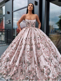 Chic Ball Gowns Spaghetti Straps Lace Long Prom Dress Evening Dress WEK266