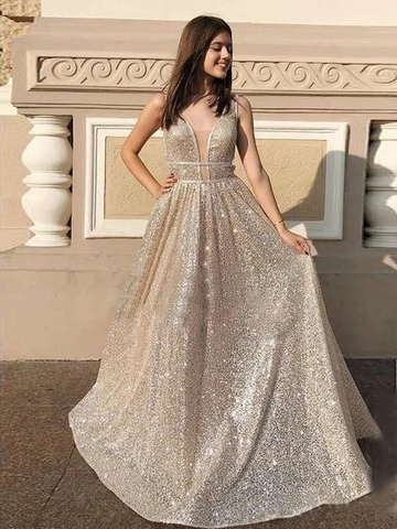 Chic A-line V neck Sparkly Silver Long Prom Dress Evening Dress WEK267