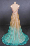 Chic A-line V neck Sequins Long Prom Dress Ombre Evening Dress WEK269
