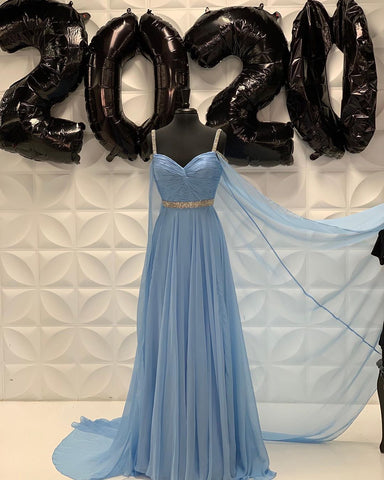 Chic A-line Straps Beaded Long Prom Dress Blue Evening Dress WEK272