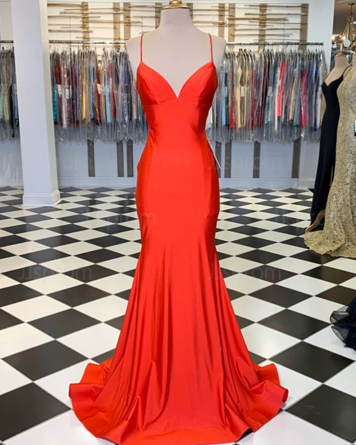 Chic Trumpet/Mermaid Spaghetti Straps Long Prom Dress Cheap Evening Dress WEK277