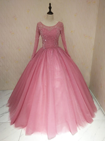 Ball Gown Long Prom Dresses With Long Sleeve Beading Pink Evening Gowns WHK005