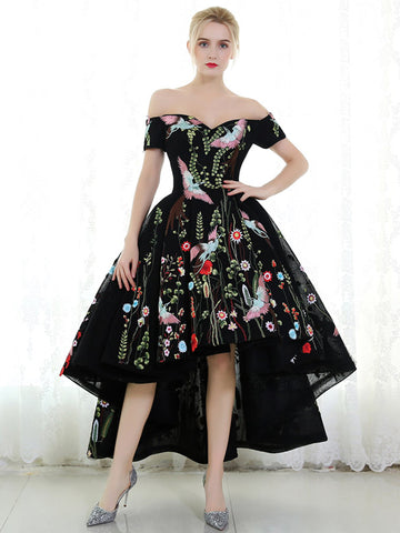 High Low Off-the-shoulder Floral Prom Dresses Cheap Black Formal Gown Evening Dresses WHK006