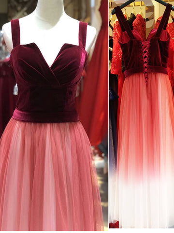 Burgundy Velvet Ombre Long Prom Dresses Cheap Formal Gown Evening Dresses WHK011