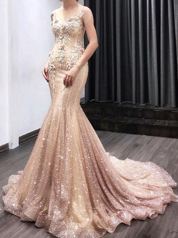 Trumpet/Mermaid Long Prom Dresses Beaded Floral Modest Evening Dresses WHK013