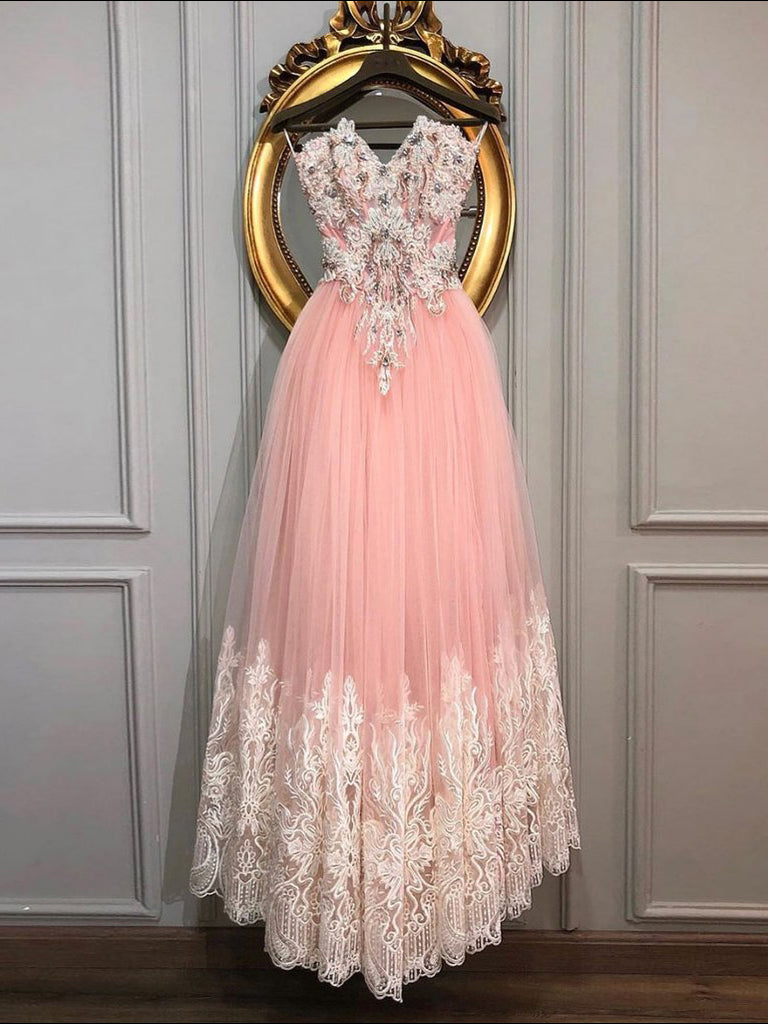 A-line Strapless Long Prom Dresses Beaded Modest Evening Dresses WHK019