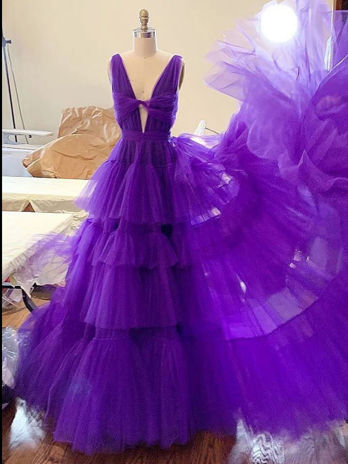 A-line V neck Grape Long Prom Dresses Beaded Modest Evening Dresses WHK020