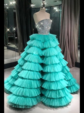 Ball Gown Sweetheart Long Prom Dresses Tulle Modest Evening Dresses WHK024
