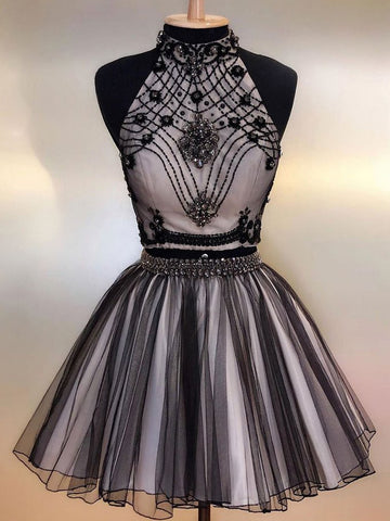 Two Pieces A-line High Neck Beaded Homecoming Dress Black Short Prom Dresses WHK027