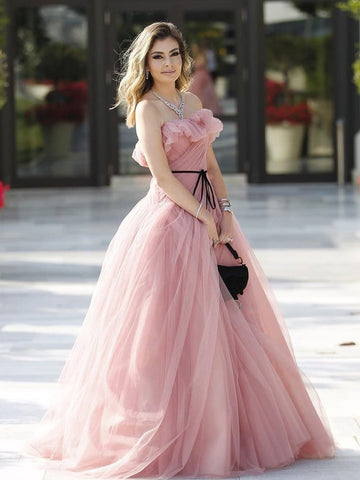 Dusty Pink A-line Strapless Long Prom Dresses Elegant Evening Dresses WHK028