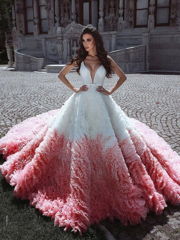 A-line Ball Gowns Tulle Court Train Ombre Wedding Dress Bridal Gowns WHK029