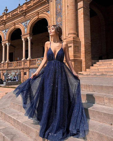 A-line Spaghetti Straps Royal Blue Prom Dresses Cheap Sparkly Formal Gown Evening Dresses WHK030