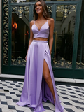 2 Pieces A-line Prom Dresses Fashion Satin Straps Gowns With Slit WHK034