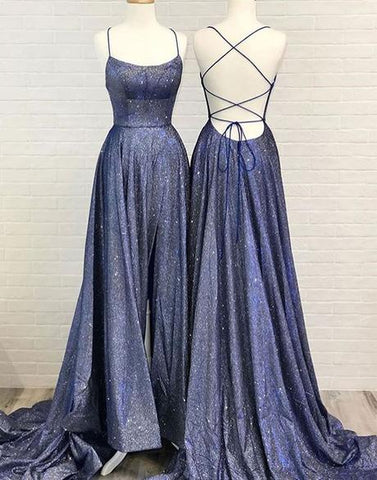 A-line Unique Backless Long Prom Dress Davy Blue Evening Dress WHK035