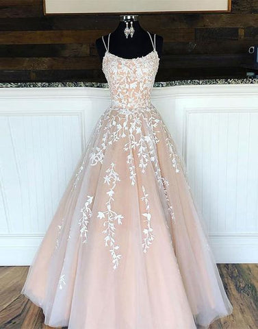 A-line Pink Tulle Lace Long Prom Dress Pink Tulle Lace Evening Dress WHK036