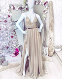 Simple Sweetheart Chiffon Champagne Long Prom Dress Champagne Evening Dress WHK042