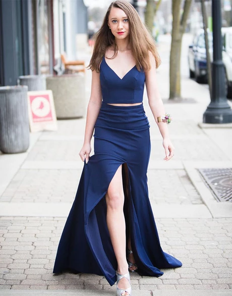 Mermaid Two Pieces Unique V neck Long Prom Dress Dark Navy Evening Dresses With High Silt WHK050