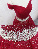Off-the-shoulder Burgundy Beaded Homecoming Dress Short Prom Dresses WHK062