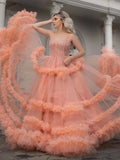 Chic Spaghetti Strap Orange Long Prom Dress With Beading Evening Dresses WHK054