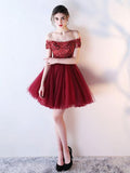 Off-the-shoulder Burgundy Beaded Lace Homecoming Dress Short Prom Dresses WHK063